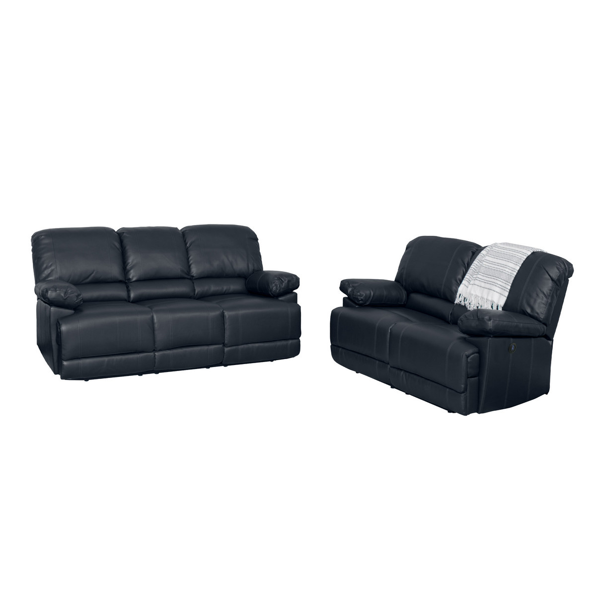 Black Bonded Leather Power Recliner Sofa Chair Set