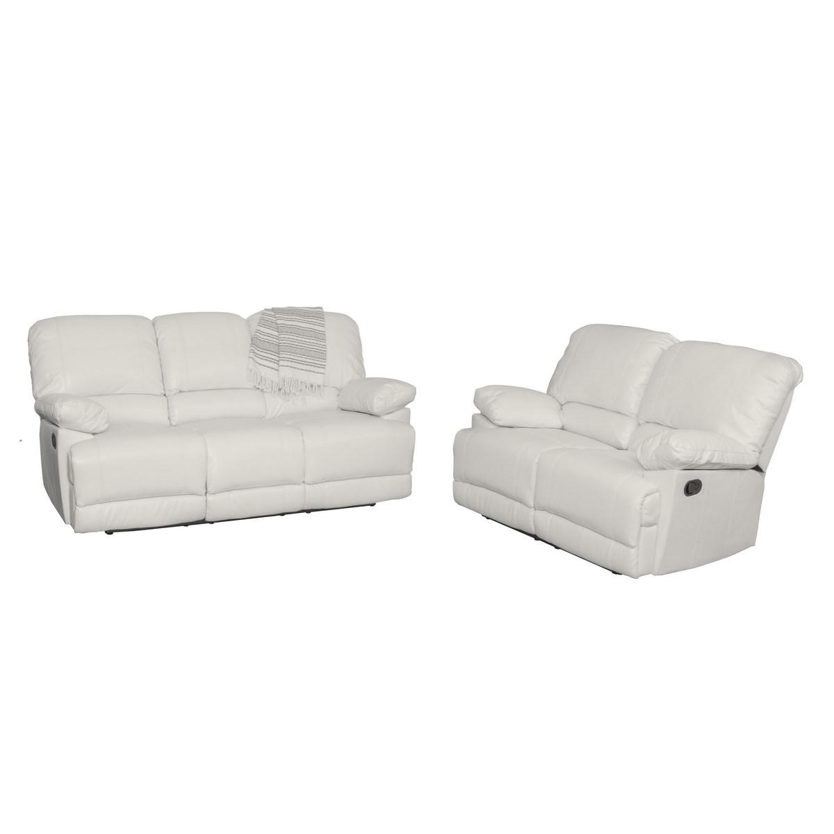 White Bonded Leather Reclining Sofa Set