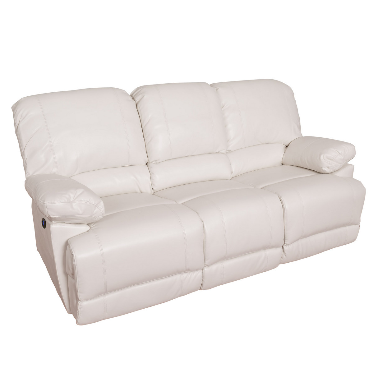 Corliving Lea White Bonded Leather Power Reclining Sofa Usb Port