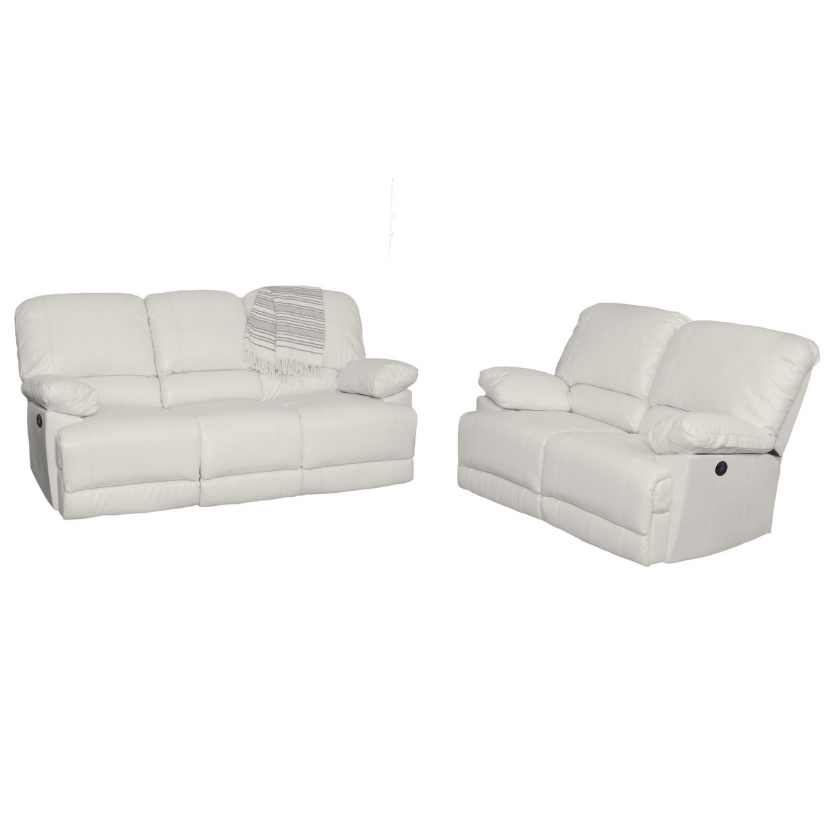 Corliving Lea White Bonded Leather Power Recliner Sofa Chair Set