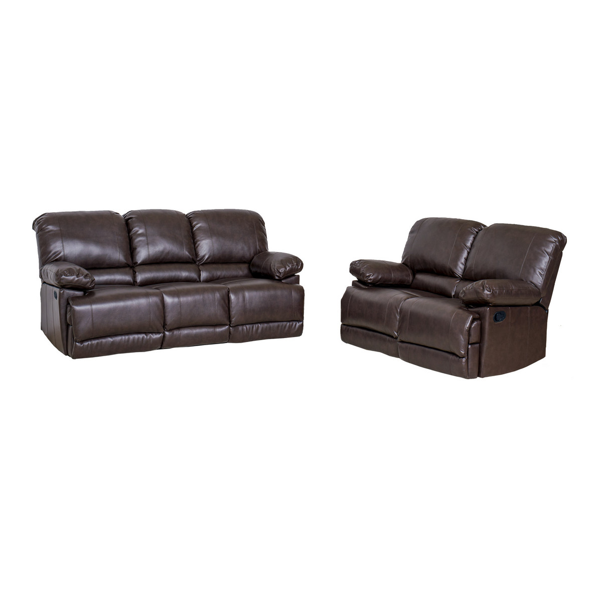 Brown Bonded Leather Reclining Sofa Set