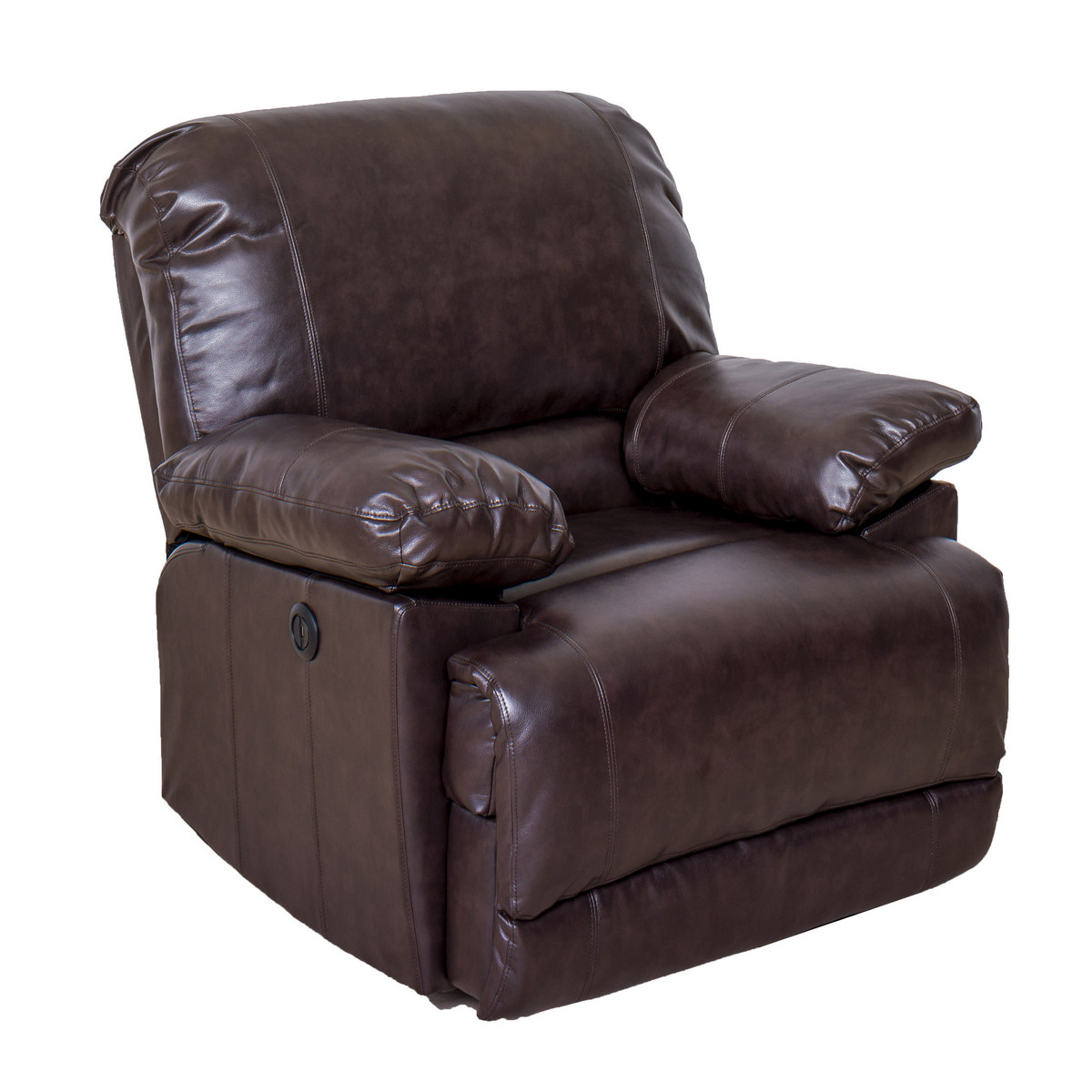 Corliving R Lea Chocolate Brown Bonded Leather Power Recliner Usb Port