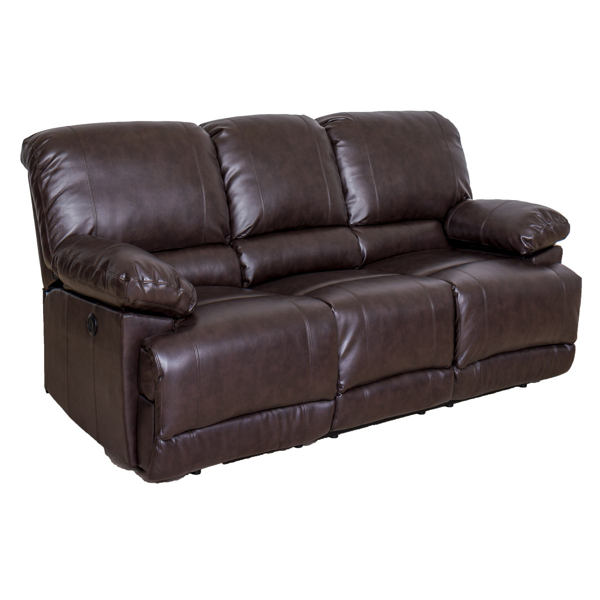 Corliving Lea Chocolate Brown Bonded Leather Power Reclining Sofa Usb Port