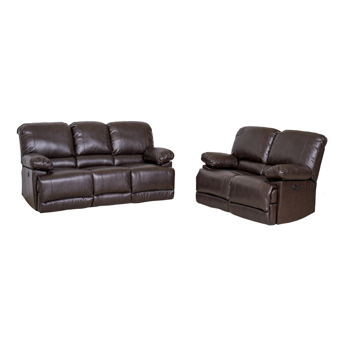 Corliving Lea Chocolate Brown Bonded Leather Power Recliner Sofa Chair Set