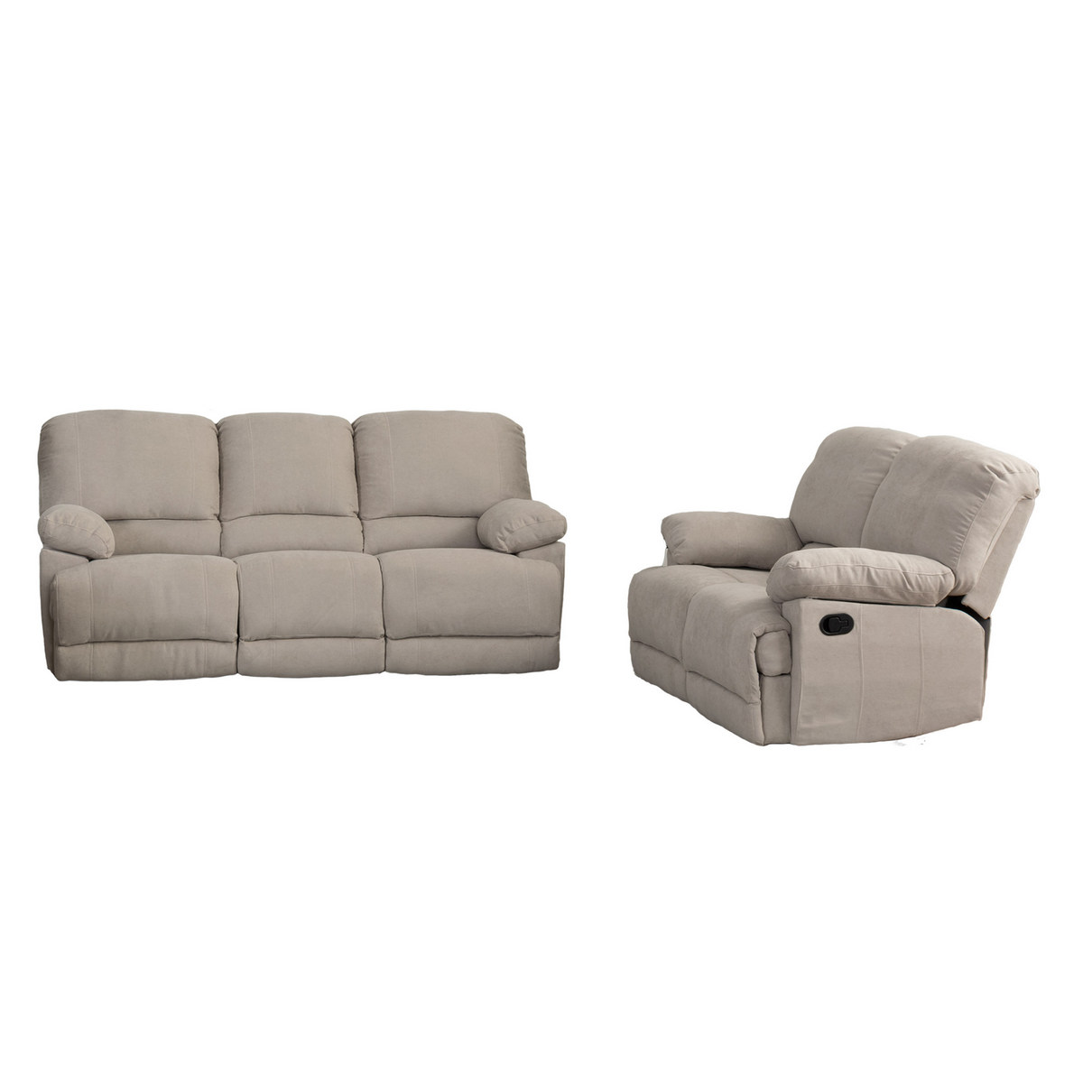 Corliving Beige Fabric Reclining Sofa Set