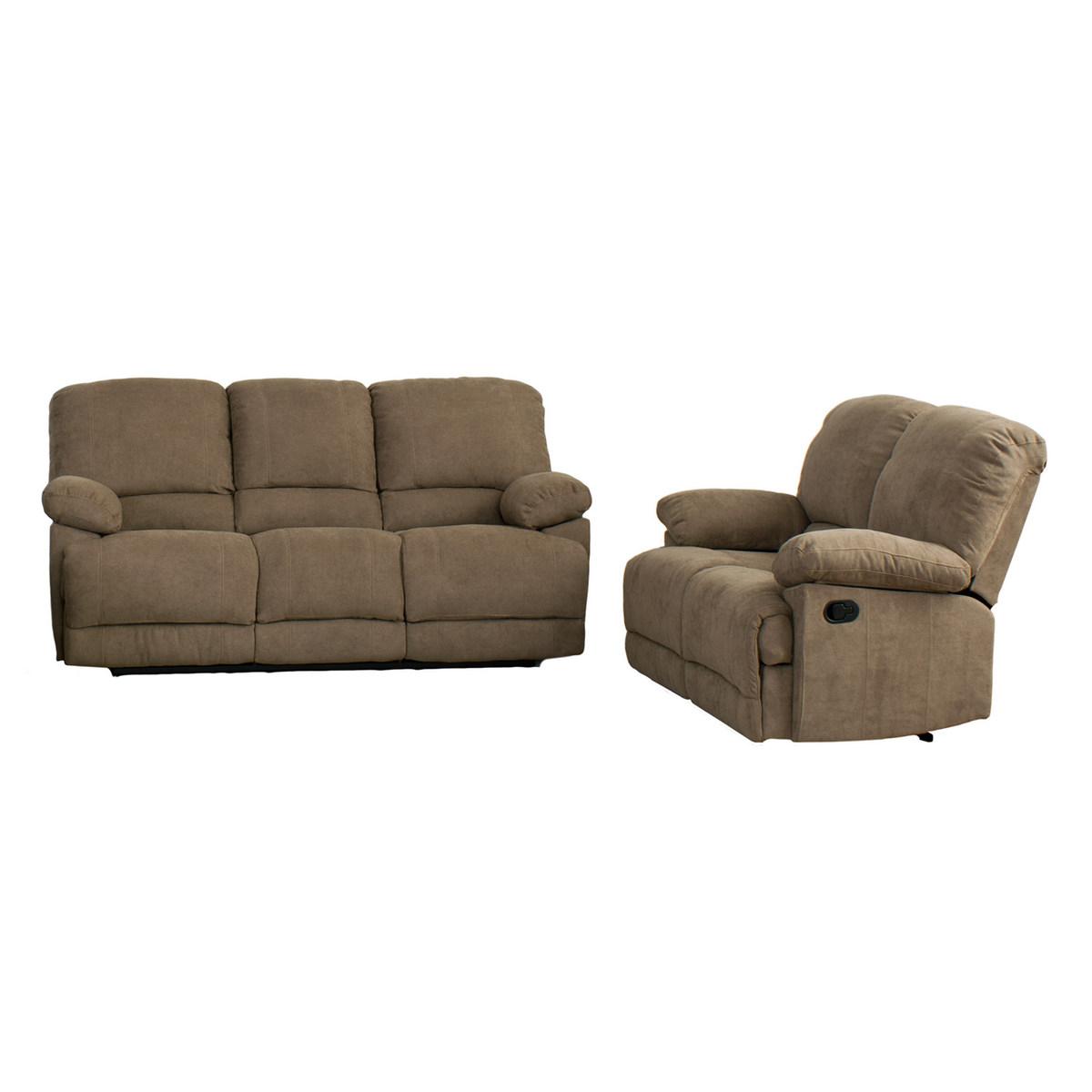 Corliving Brown Fabric Reclining Sofa Set