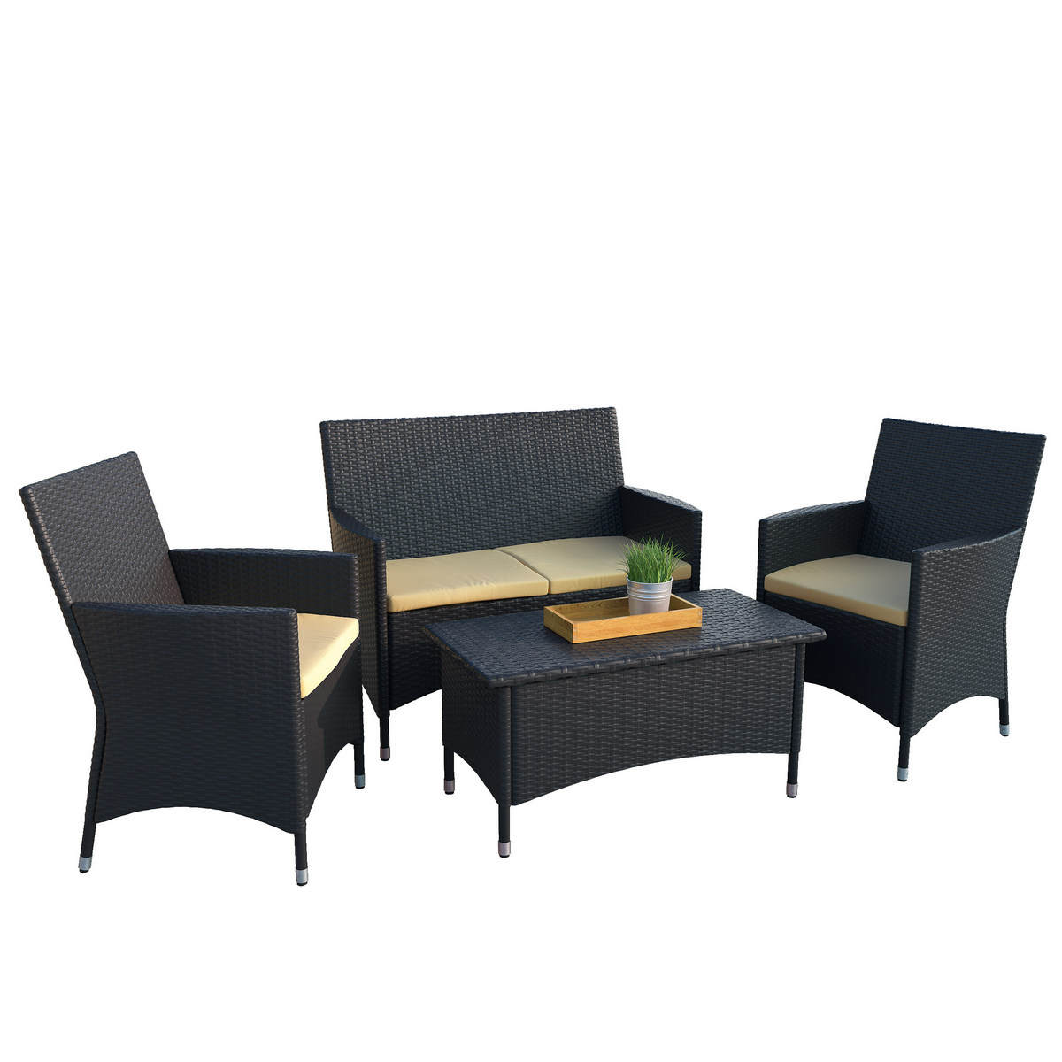 Corliving Pcd Patio Bench Coffee Table Set