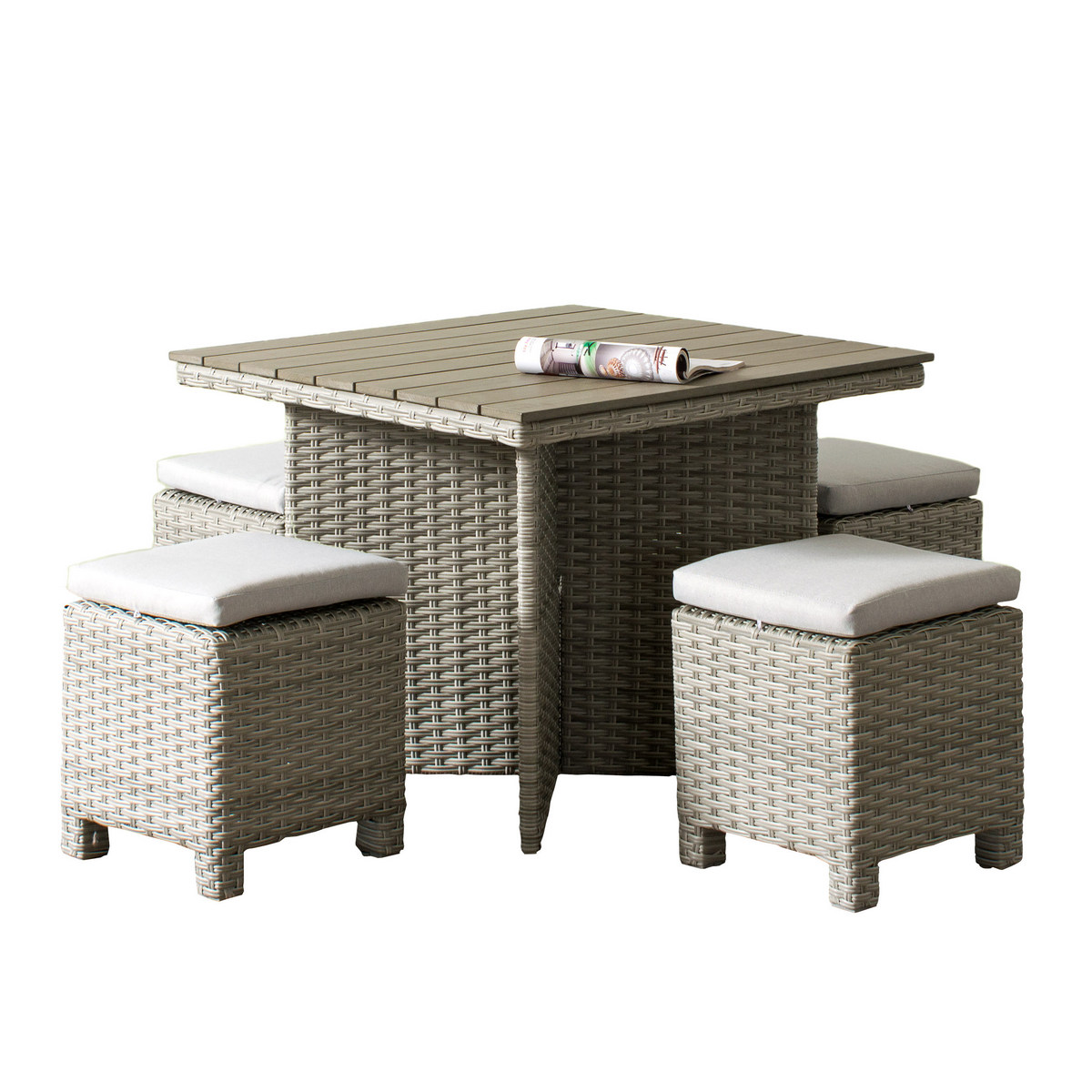 Corliving Pcl Brisbane Weather Resistant Resin Wicker Patio Dining Set