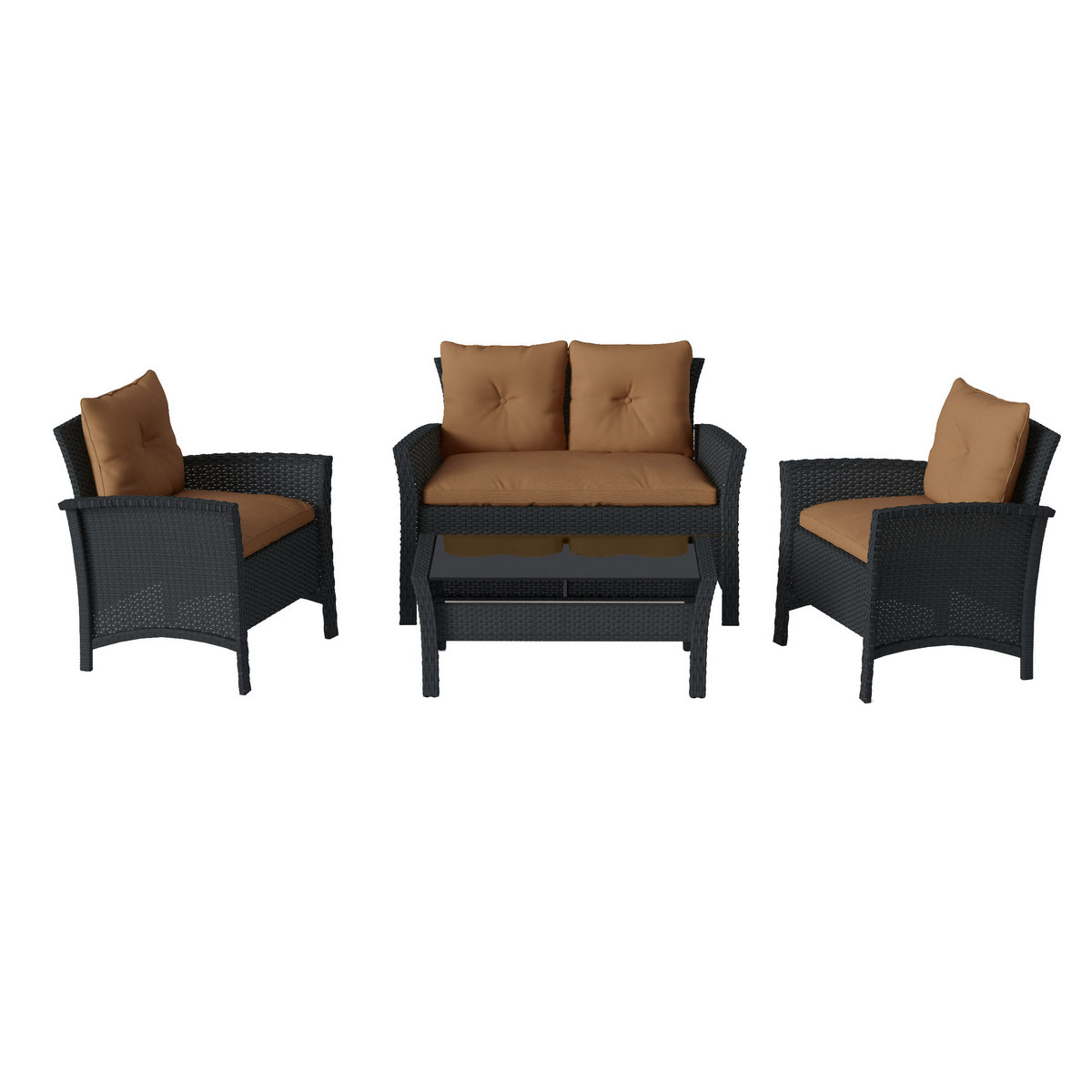 Corliving Patio Set Resin Rattan Wicker Brown