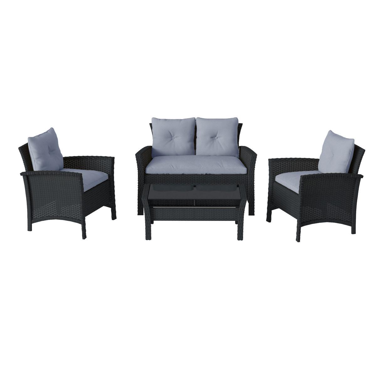 Corliving Black Resin Rattan Wicker Patio Set Light Blue Cushions