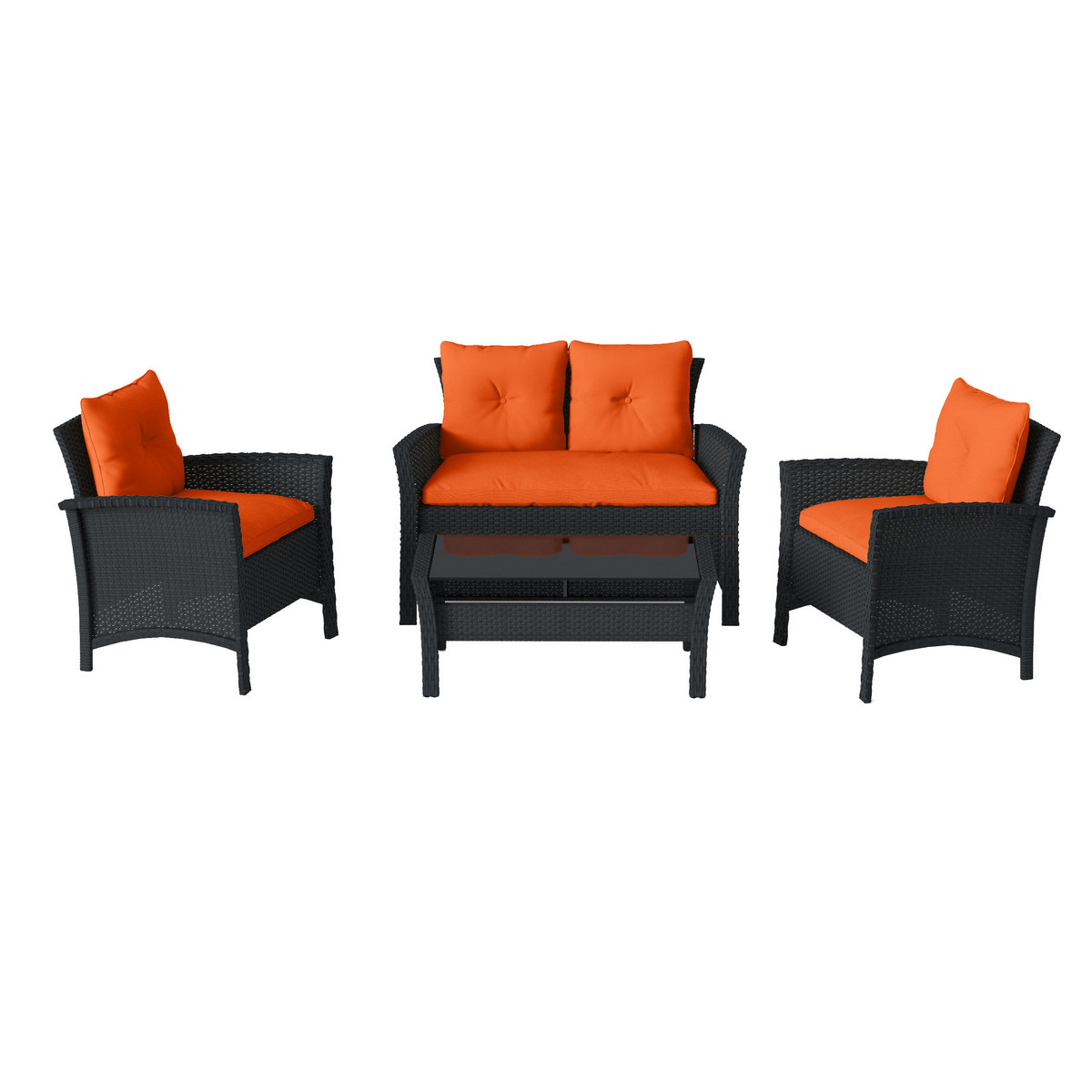 Corliving Patio Set Resin Rattan Wicker Orange