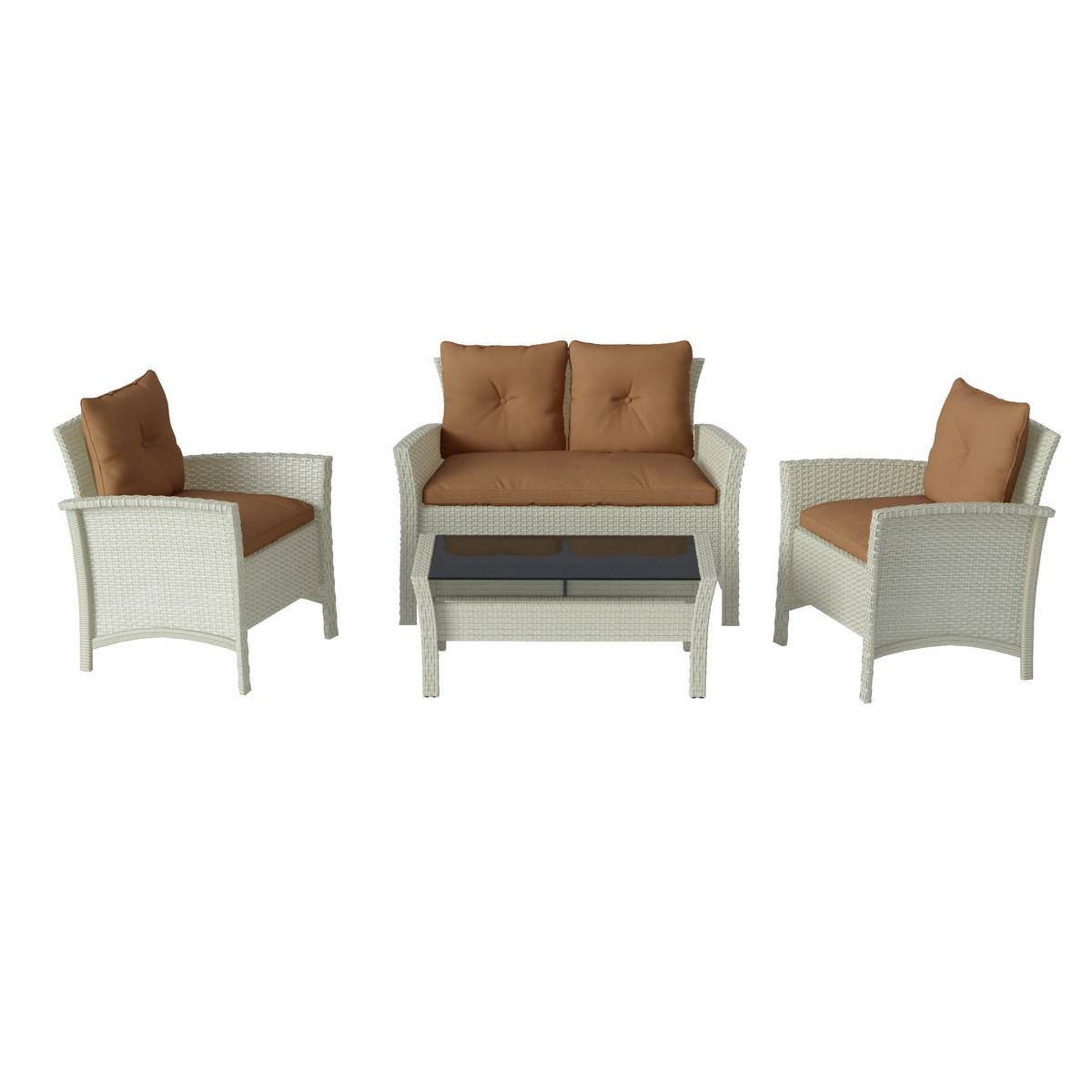 Corliving Distressed Grey Resin Rattan Wicker Patio Set Brown Cushions