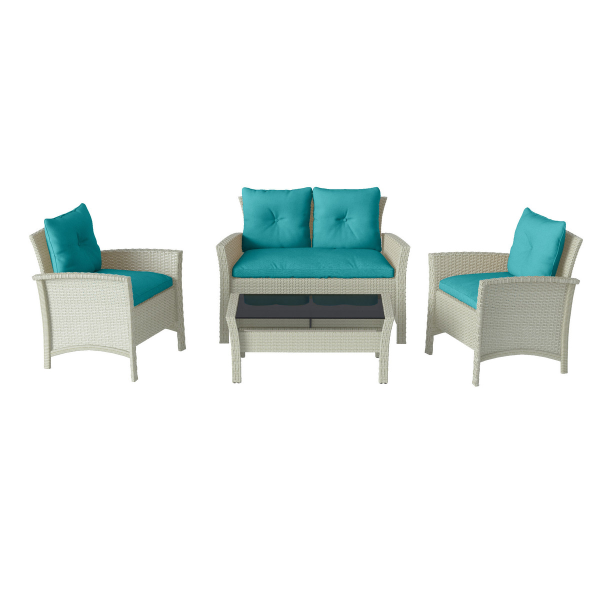 Corliving Distressed Grey Resin Rattan Wicker Patio Set Blue Cushions