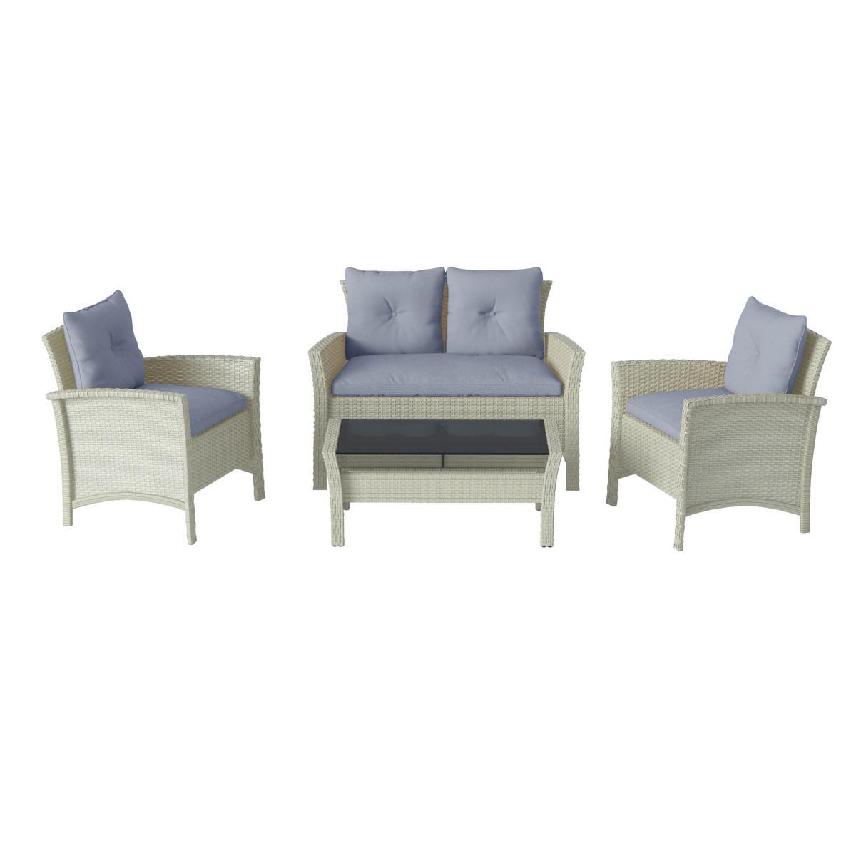 Corliving Distressed Grey Resin Rattan Wicker Patio Set Light Blue Cushions