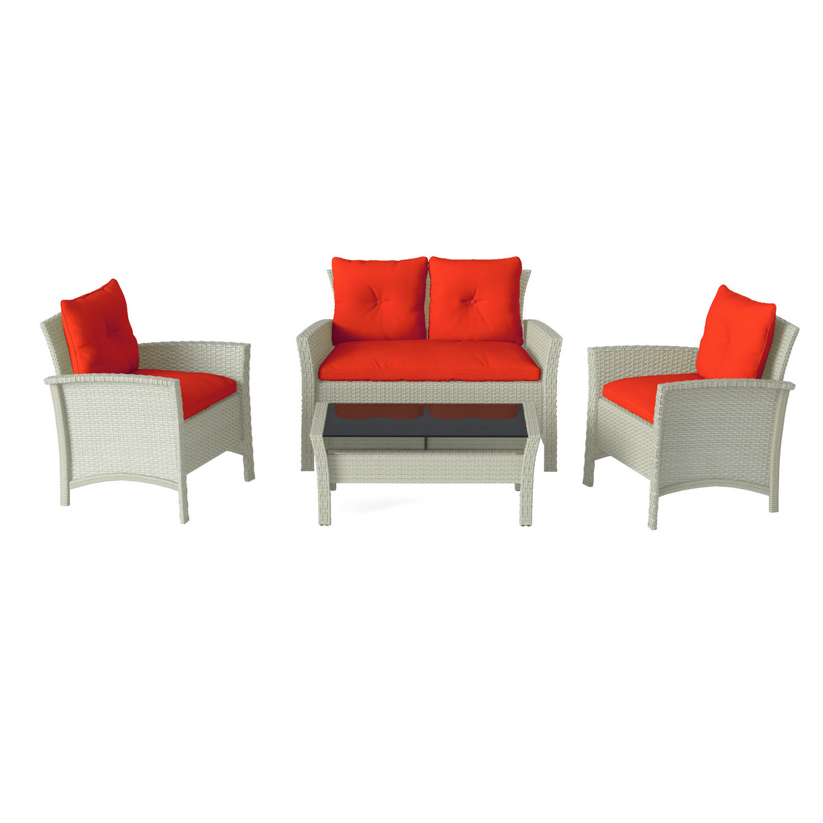 Corliving Furniture Patio Set Resin Rattan Wicker Red Photo