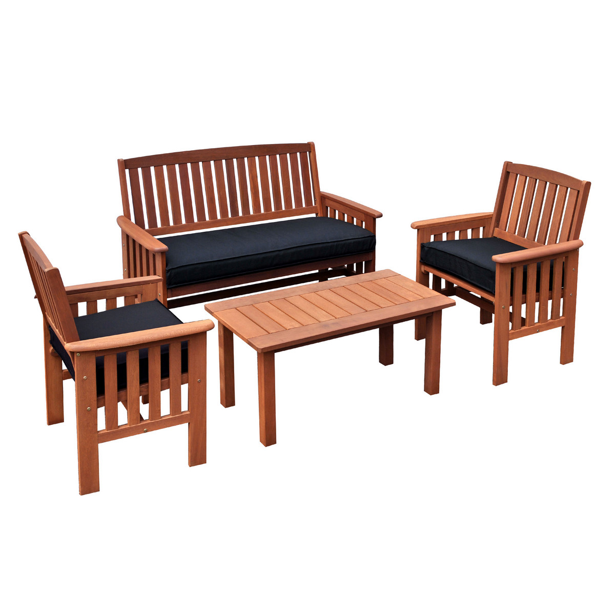 Corliving Outdoor Chair Hardwood Coffee Table Set