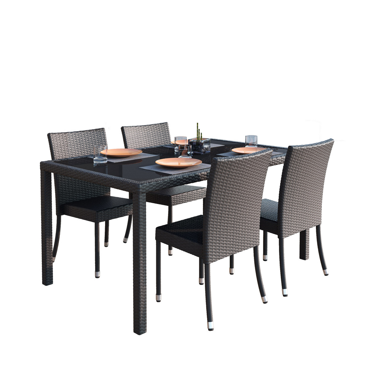 Corliving Ppt Terrace Patio Dining Set Charcoal Black Rope Weave