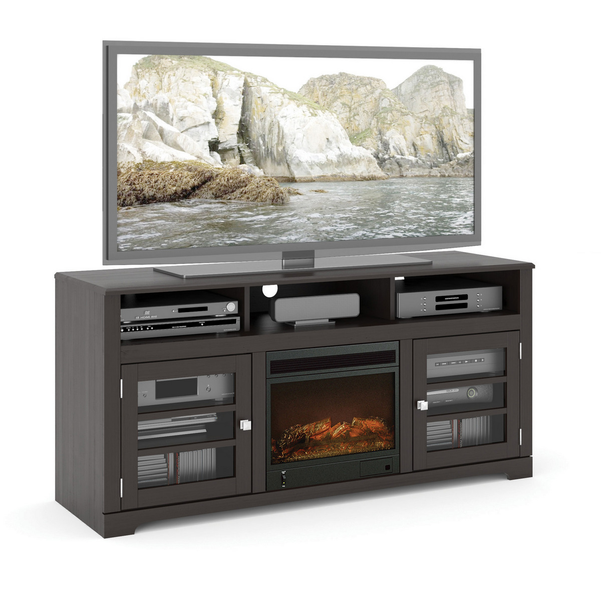 Corliving Twb West Fireplace Tv Bench Mocha Black For Up To Tvs