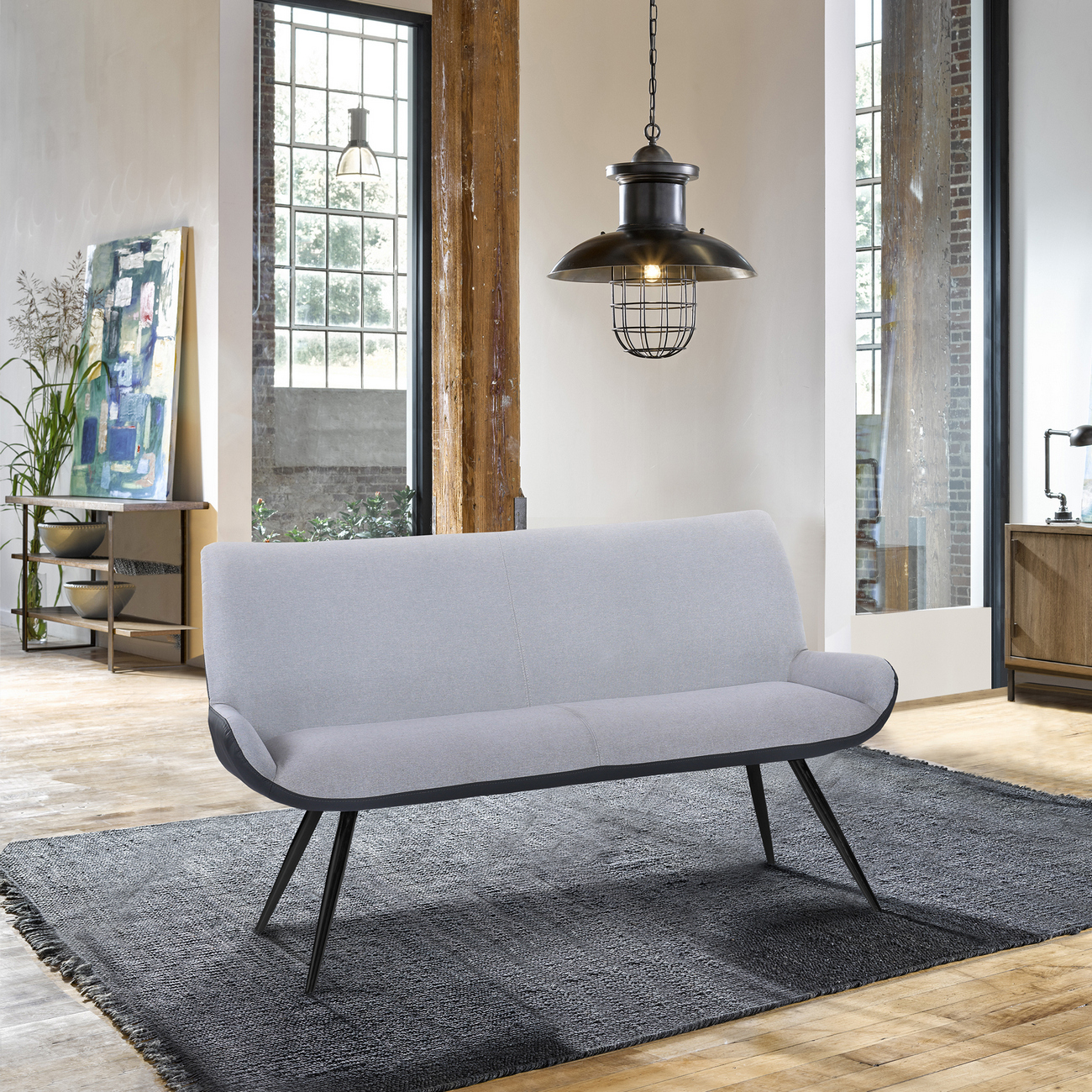 Armen Living Coronado Contemporary Bench Brushed Gray Powder Coated
