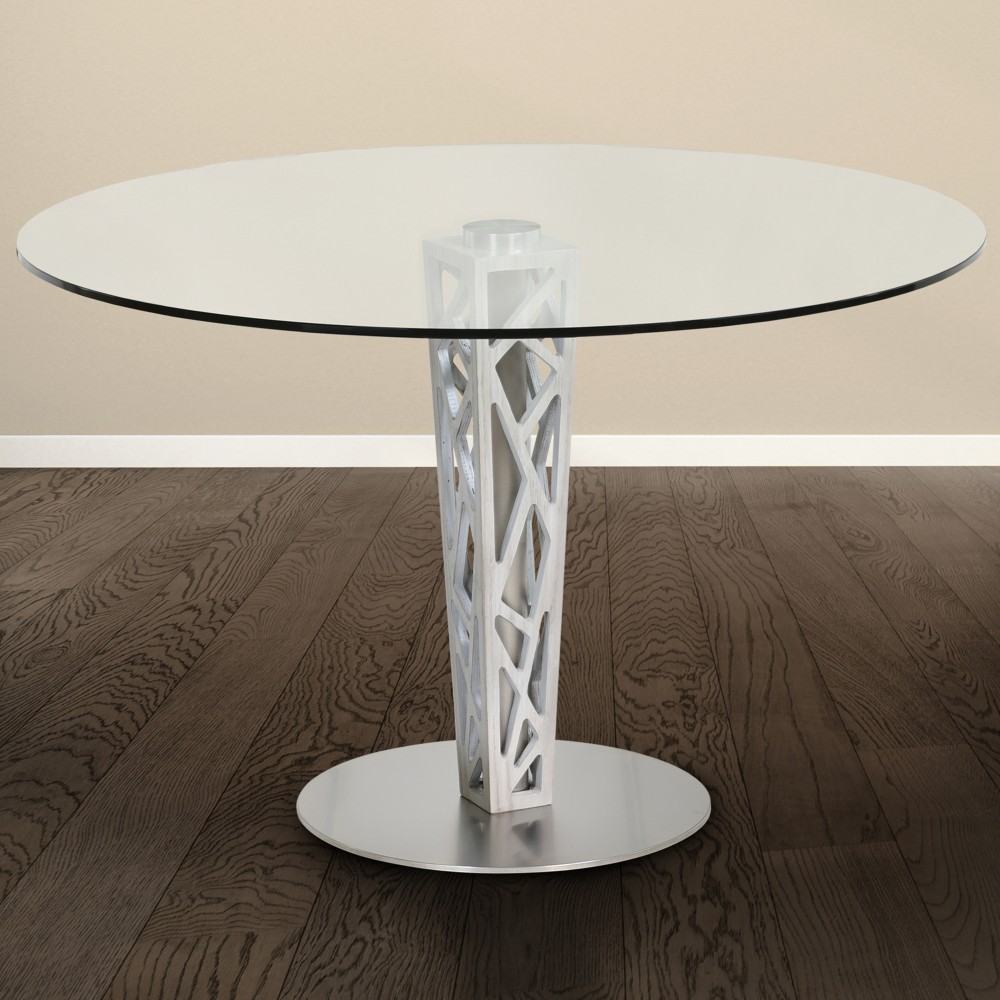 """Crystal Round Dining Table in Brushed Stainless Steel finish w/ Gray Walnut Veneer Column & 48"""" Glass Top - Armen Living LCCRDITOCLGL"""