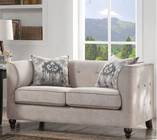 Acme Cyndi Loveseat Pillows Light Gray Fabric