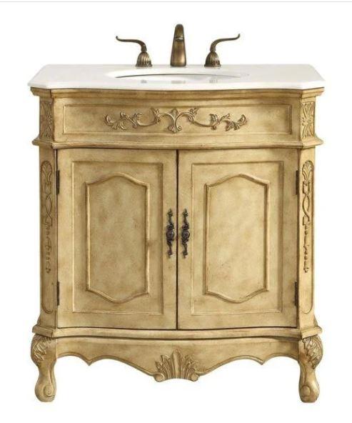 Elegant Lighting Danville Single Bathroom Vanity Set Antique Beige