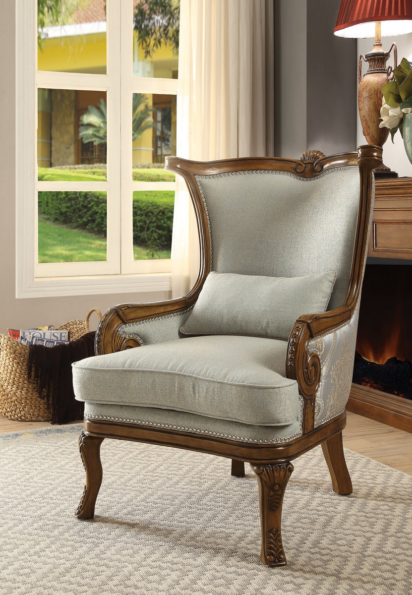 Acme Darian Accent Chair Pillow Light Blue Fabric Oak