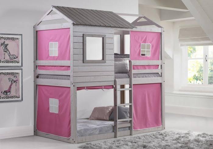 Deer Blind Bunk Loft W/Pink Tent - Donco 1370-TTLG/P