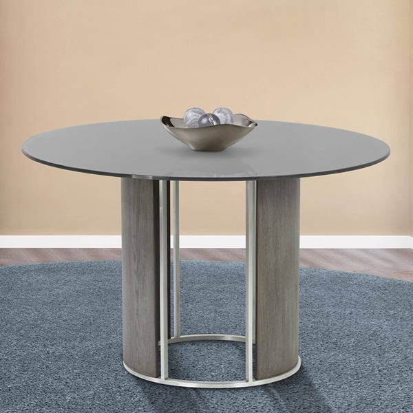 Armen Living Delano Round Dining Table Brushed Stainless Steel Gray