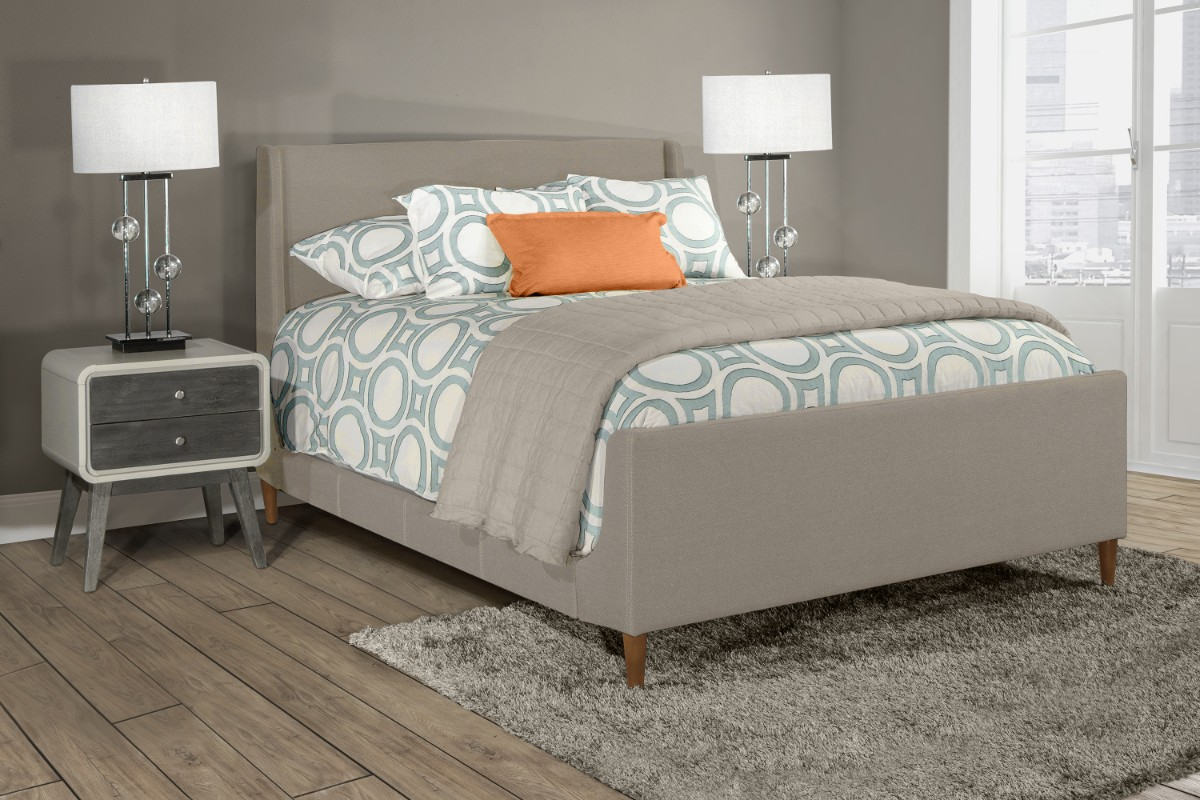 Hillsdale King Bed Dove Gray Fabric Side Rails Included