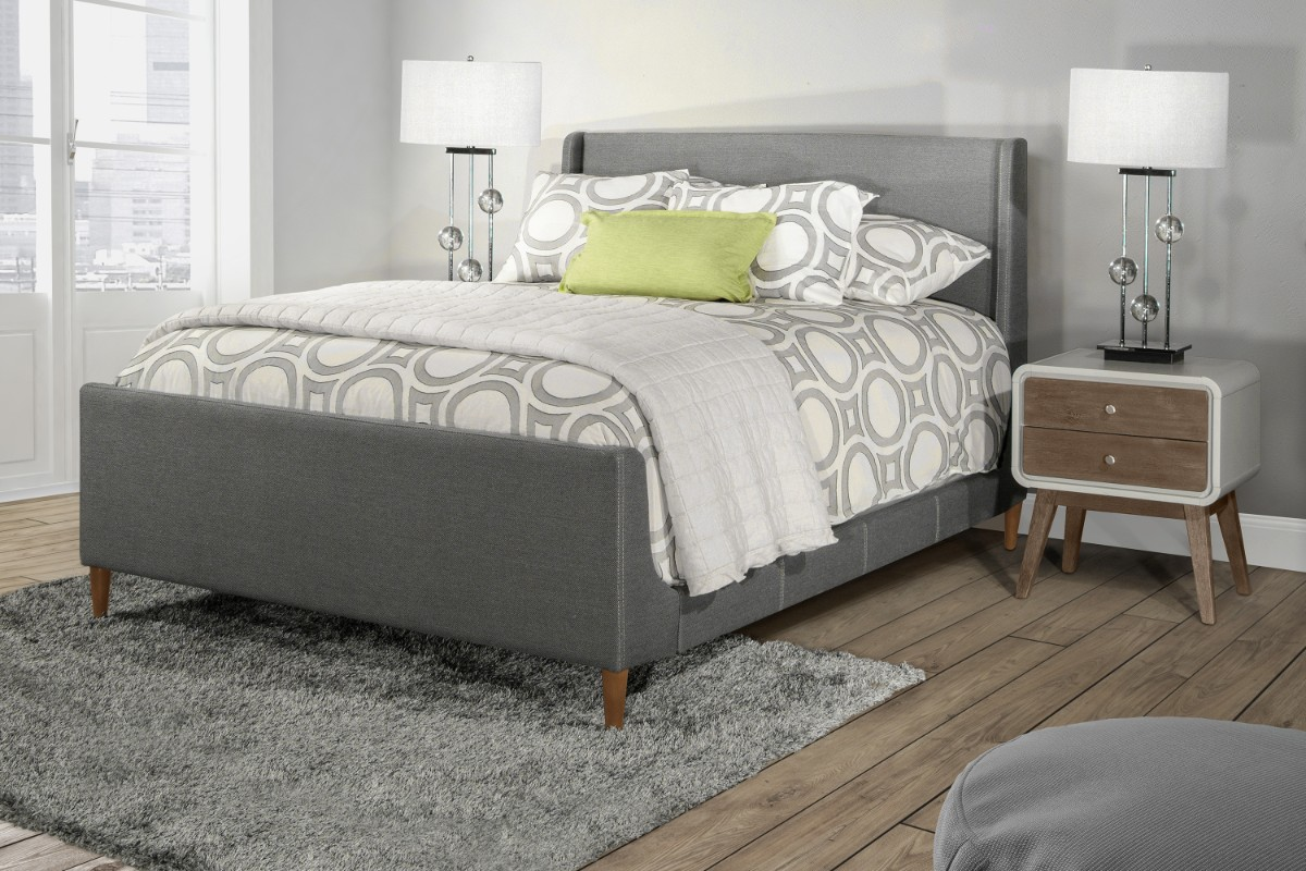 Hillsdale King Bed Linen Charcoal Fabric Side Rails Included