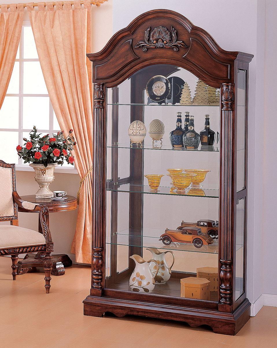 Acme Denton Curio Cabinet Cherry