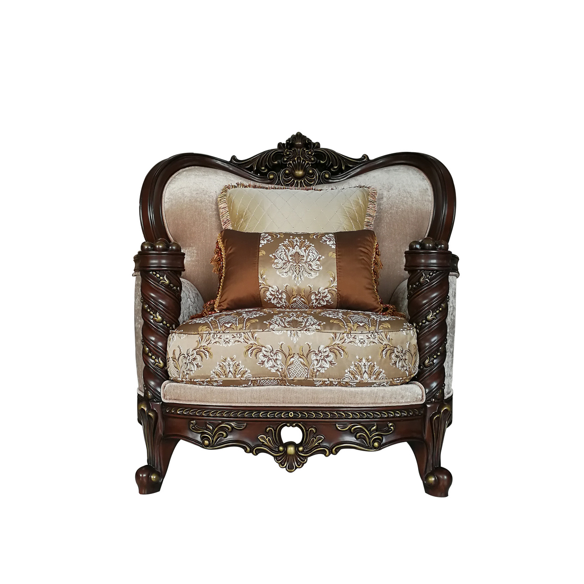 Acme Devayne Chair Pillows Fabric Dark Walnut