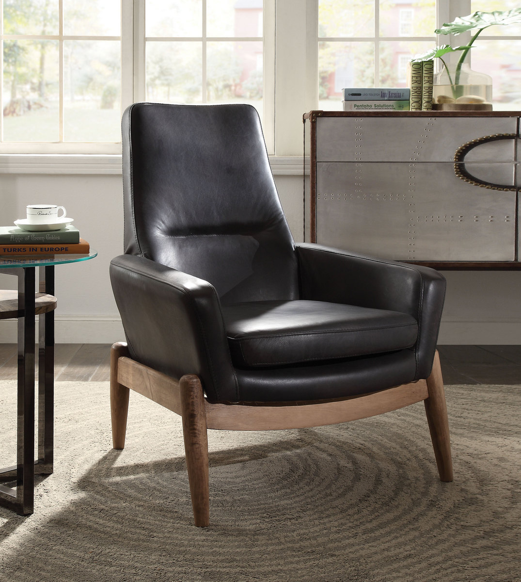 Acme Dolphin Accent Chair Black Grain Leather