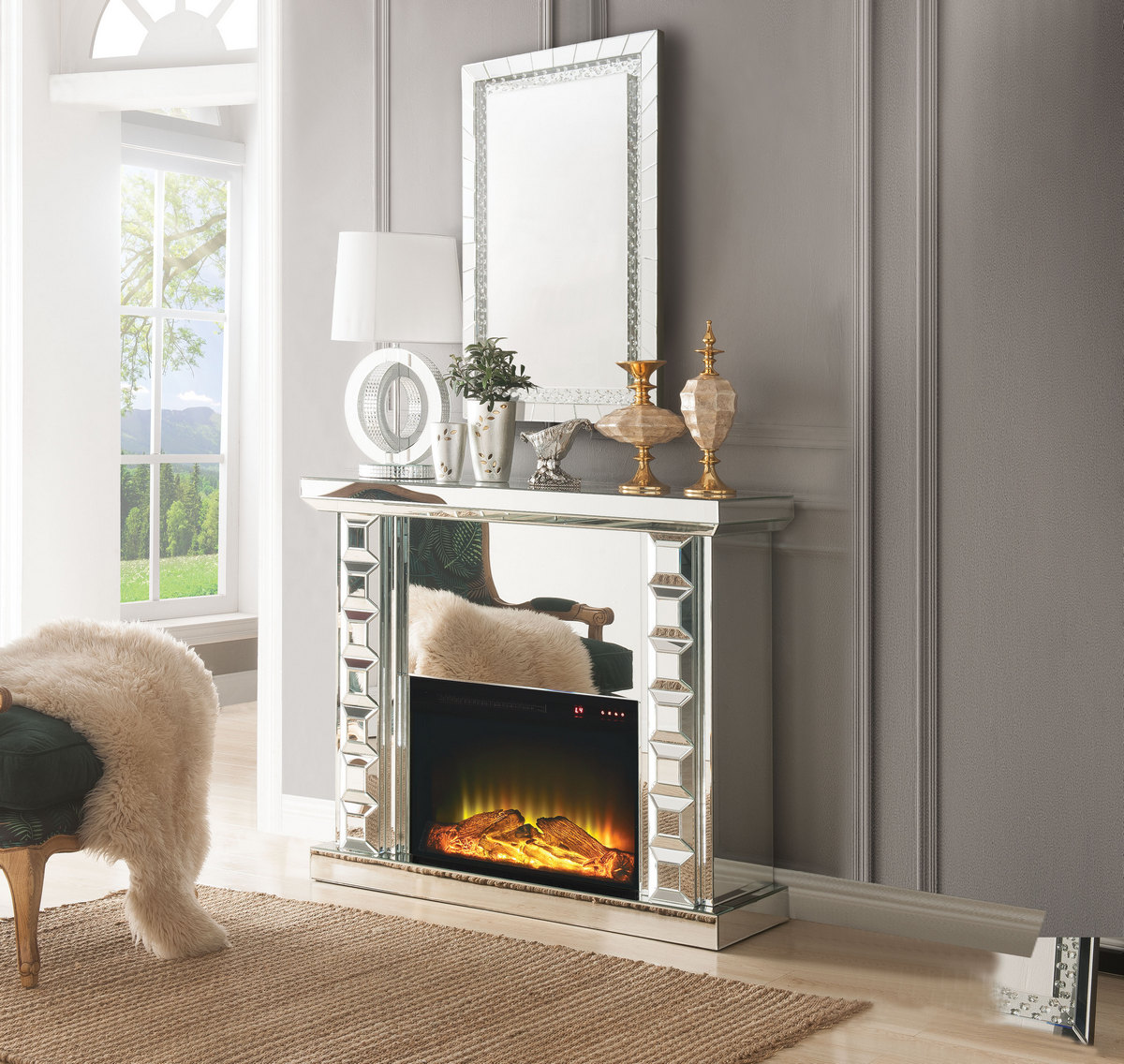 Acme Dominic Fireplace Mirrored