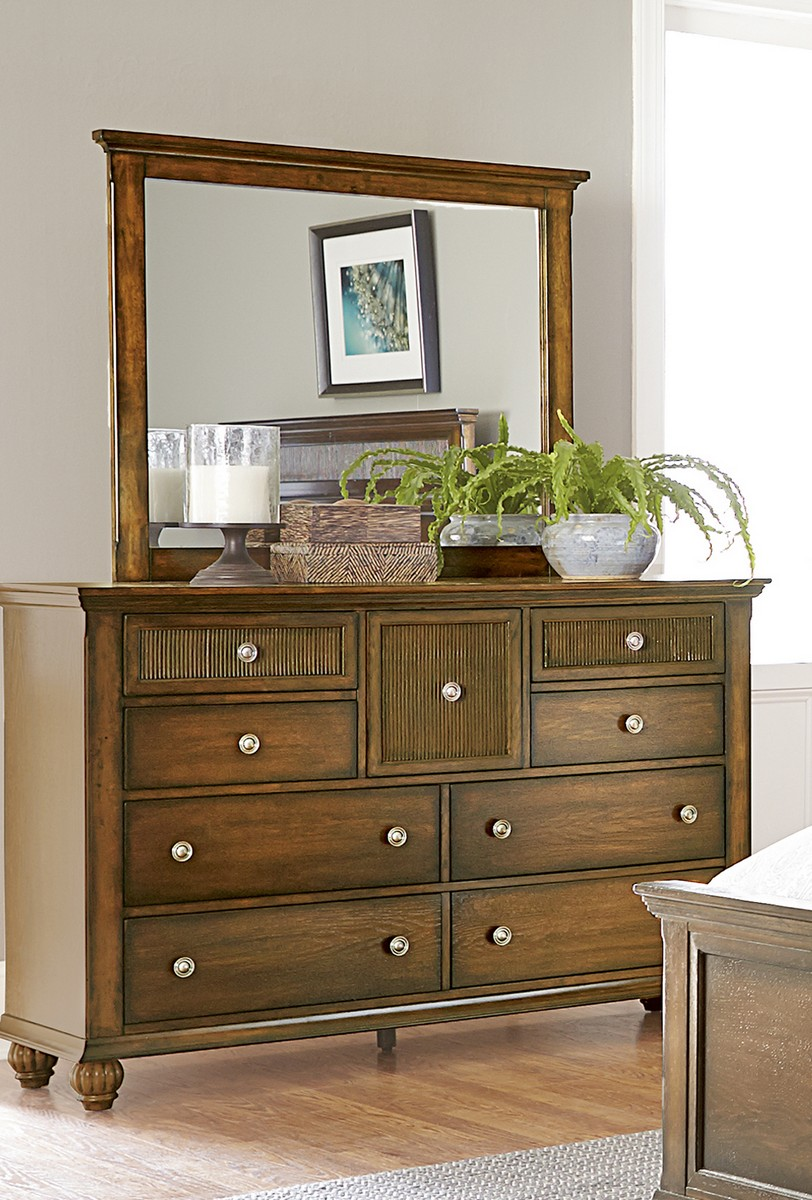 Progressive Cotswold Grove Drawer Dresser Mirror Root Beer