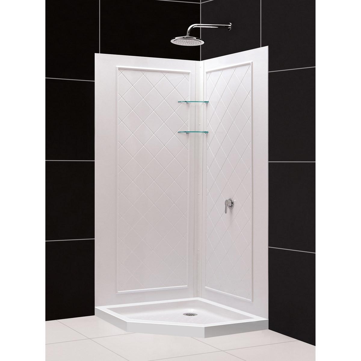 Dreamline Neo Angle Shower Base Qwall Acrylic Corner Backwall Kit White