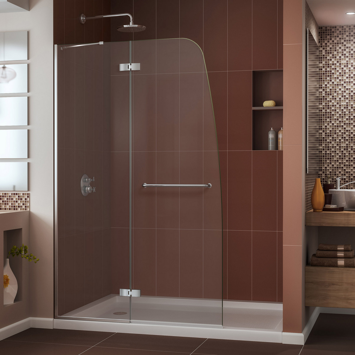 Dreamline Aqua Frameless Shower Door Chrome Center Drain Biscuit Base Kit