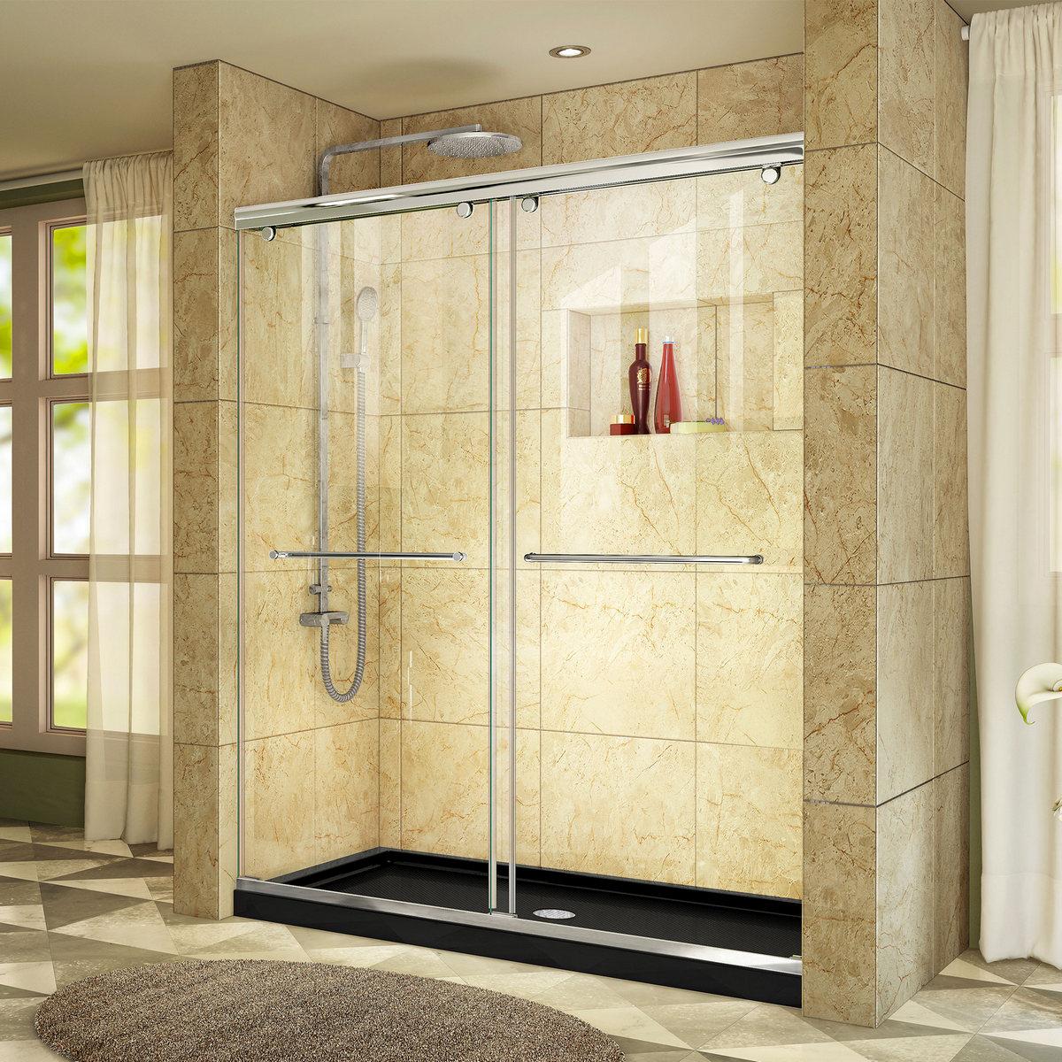Dreamline Shower Door Chrome Center Drain Black Base Kit