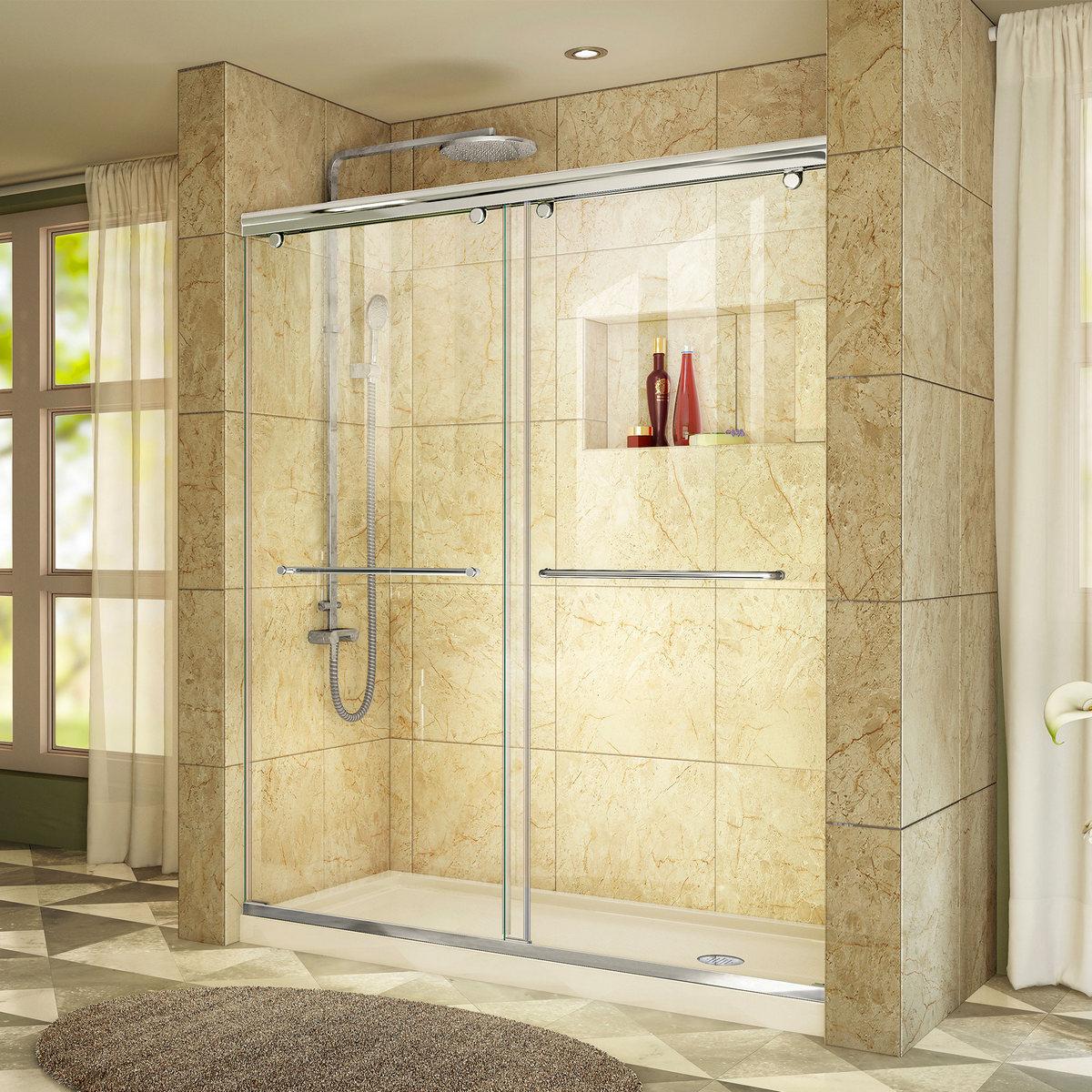 Dreamline Shower Door Chrome Right Drain Biscuit Base Kit