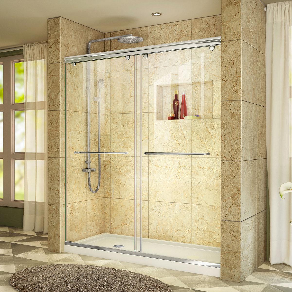 Dreamline Shower Door Chrome Left Drain White Base Kit