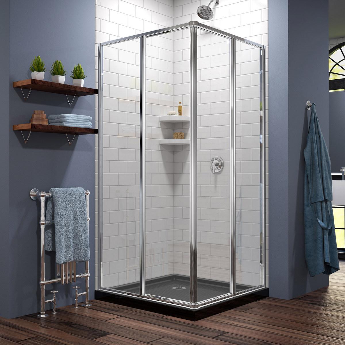 Dreamline Cornerview Sliding Shower Enclosure Chrome Black Acrylic Base Kit