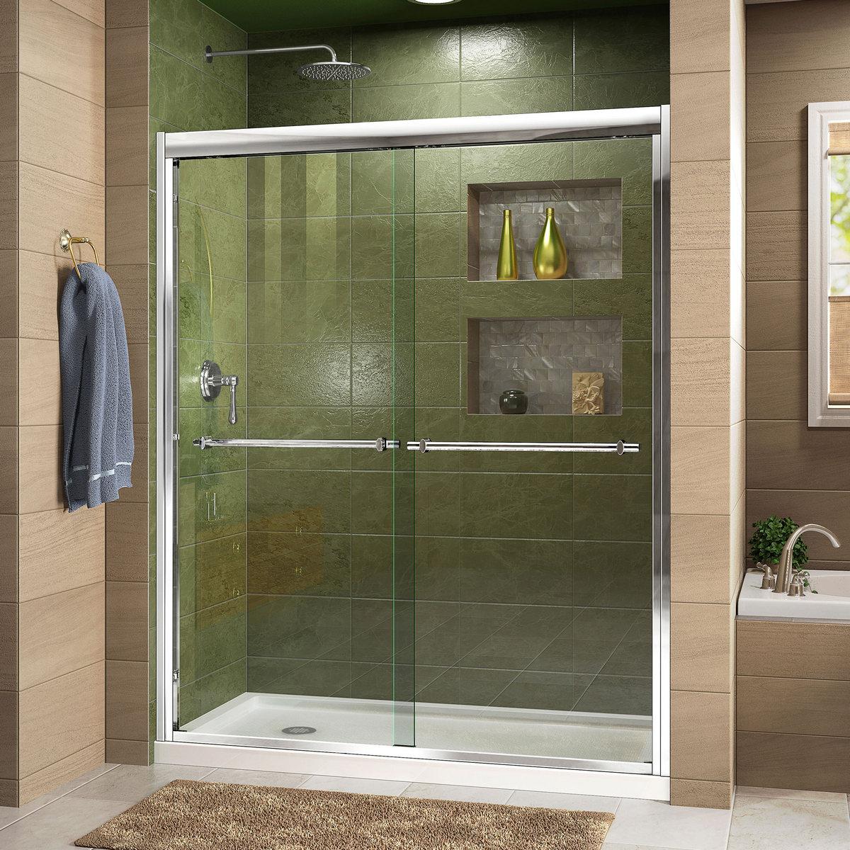 Dreamline Shower Door Chrome Left Drain Black Base Kit