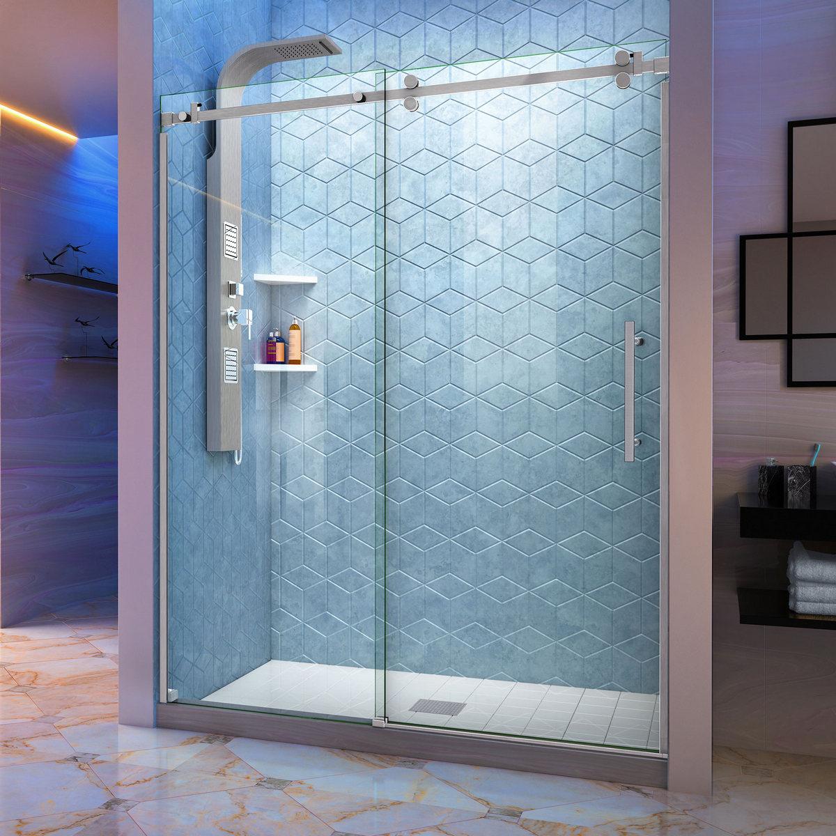 Dreamline Enigma Sky Frameless Sliding Shower Door Brushed Stainless Steel