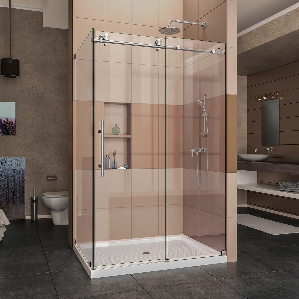 Dreamline Enigma Fully Frameless Sliding Shower Enclosure Brushed
