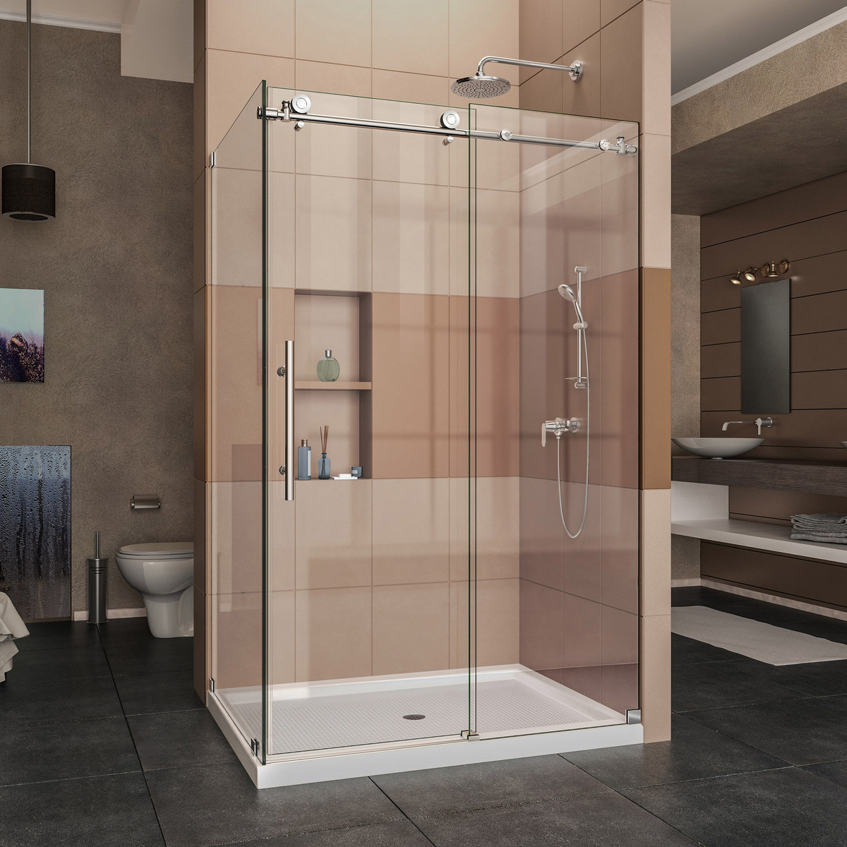 Dreamline Enigma Fully Frameless Sliding Shower Enclosure Polished