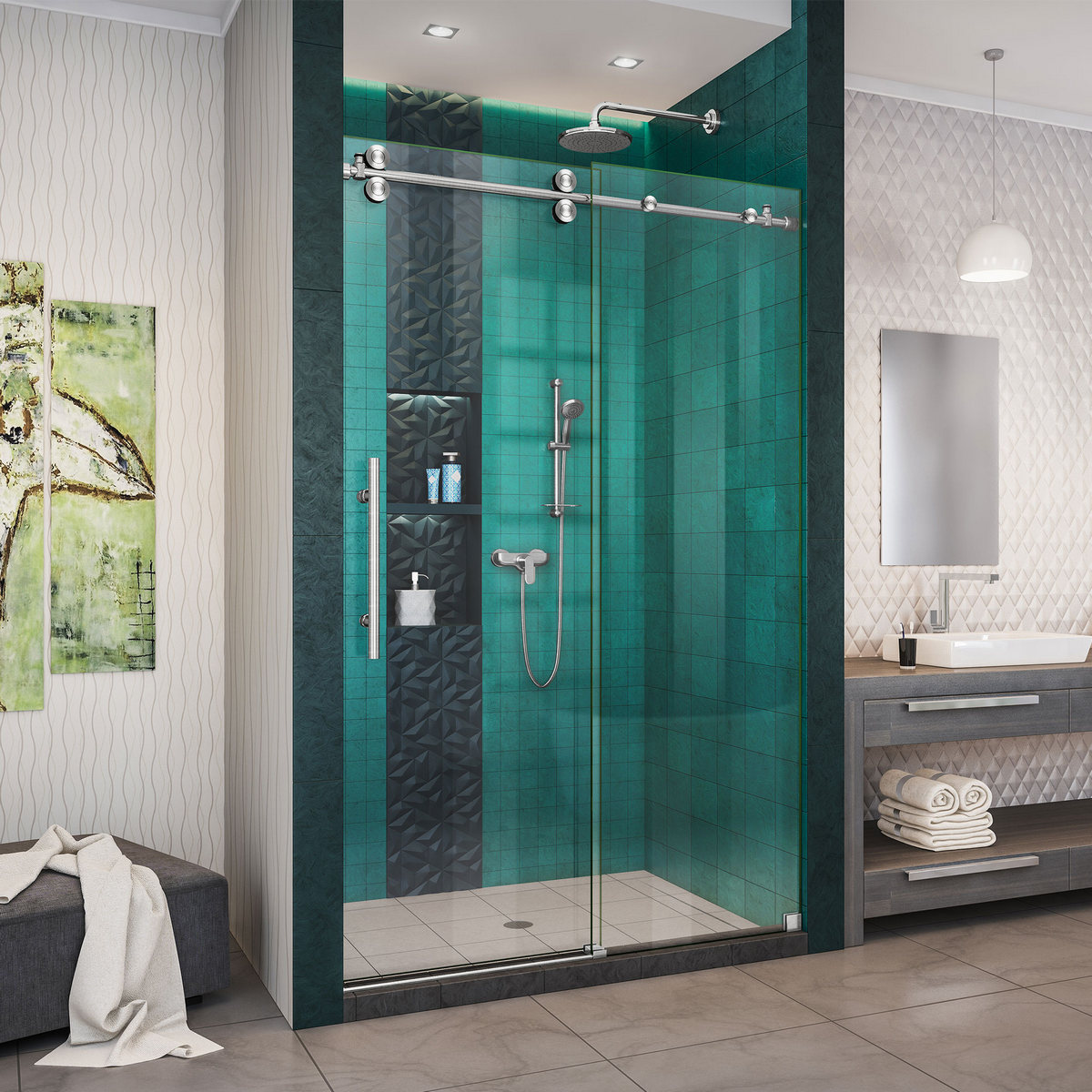 Dreamline Enigma Xo Fully Frameless Sliding Shower Door Brushed