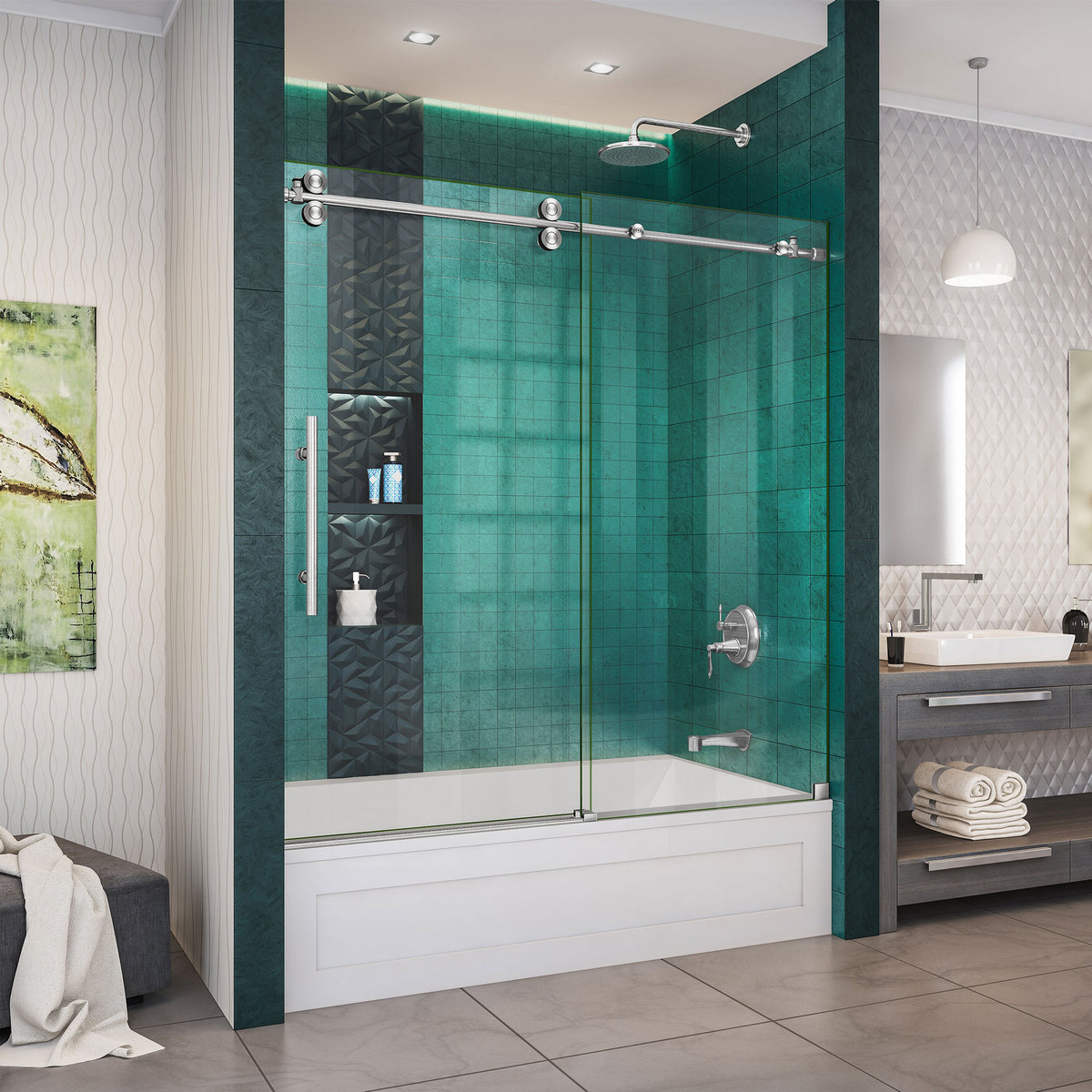Dreamline Enigma Xo Fully Frameless Sliding Tub Door Brushed