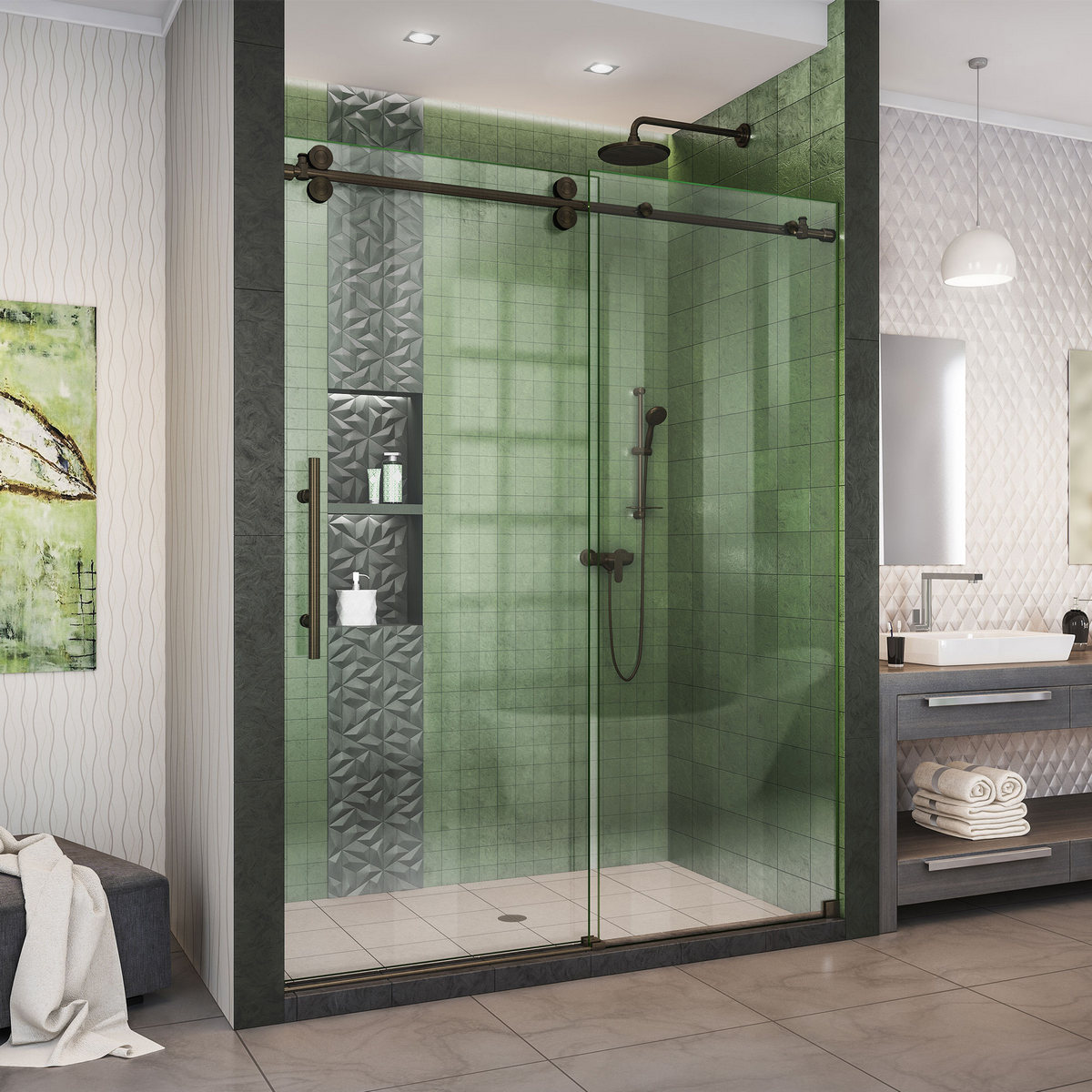 Dreamline Enigma Xo Fully Frameless Sliding Shower Door Oil Rubbed Bronze