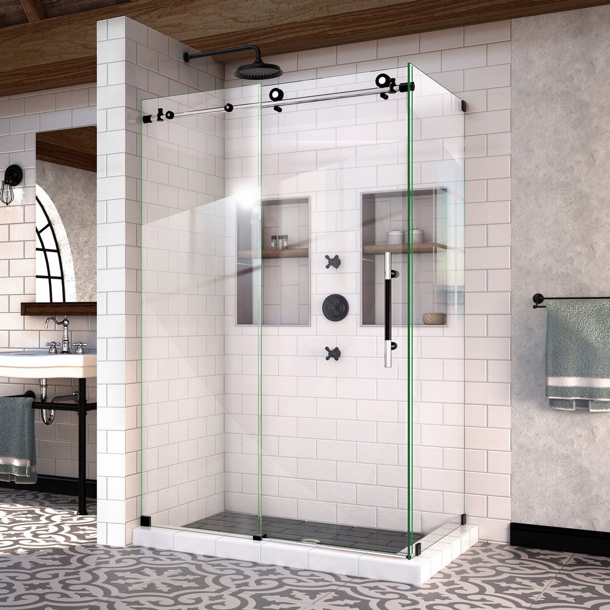 Dreamline Enigma Xt Fully Frameless Sliding Shower Enclosure Tuxedo Finish